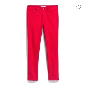 Red ankle cuffed pants perfect for spring0